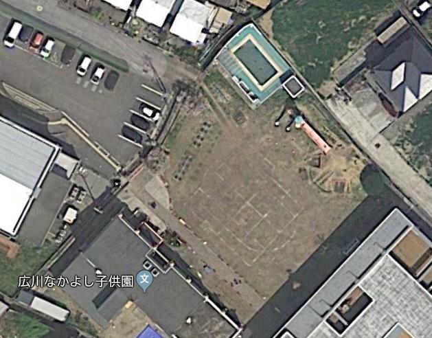 現在の園の運動場の航空写真